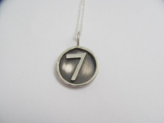 Sterling Silver Framed Disc Necklace with Soldered Hand Cut Number