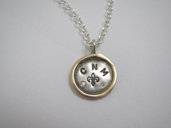 Sterling Silver Framed Disc Necklace with Two Diamonds
