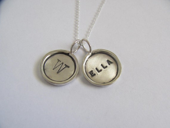 Two Sterling Silver Rimmed Disc Necklace
