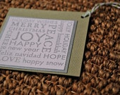 holiday gift tags silver green with bakers twine