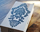 wood mounted memory box antique damask rubber stamp