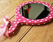 Wooden hand mirror Painted hand mirror Pink hand mirror with ribbon Wooden hand mirror with polka dots hand painted by oscar & ollie