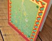 handmade christmas card tree with ornaments on chevron stripe christmas card by oscar & ollie