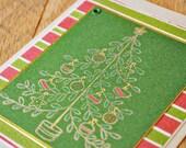 handmade christmas card christmas tree with ornaments on striped fabric christmas card by oscar & ollie