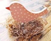 wooden bird decor easter bird decoration spring decor girl nursery decor hand painted pink bird by oscar & ollie