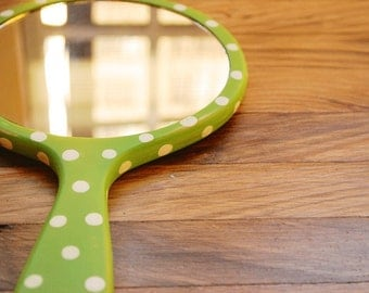 Wooden hand mirror Hand painted hand mirror custom color with polka dots