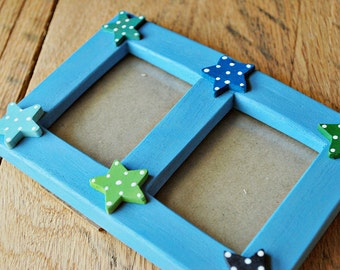 Double photo frame with stars Picture frame with stars Star picture frame