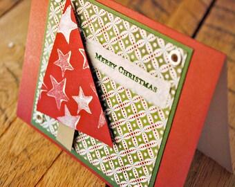 handmade christmas card tree with stars merry christmas card by oscar & ollie