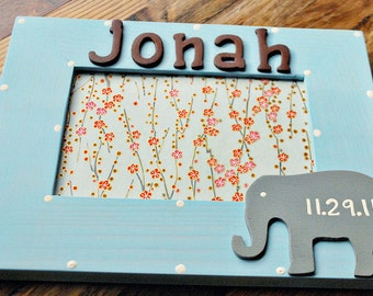 Elephant picture frame for children Personalized frame for kids Personalized frame for children