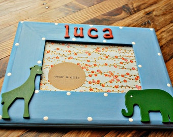 Giraffe & elephant picture frame Personalized photo frame Kids animal frame