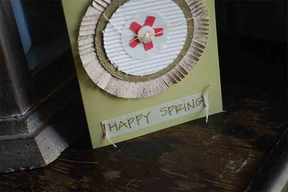 happy spring card handmade greeting card by oscar & ollie SALE