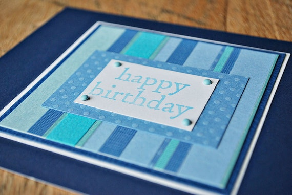 Birthday card for men Blue birthday card Masculine birthday card by oscar & ollie