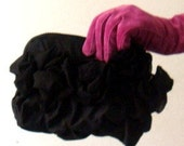 Black Clutch with Roses and Ruffles  OOAK