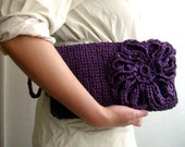 RESERVED LISTING for Z.D. Purple Clutch Purse Crochet Wristlet Bag