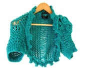 Hand Knit Lace Shrug in Green