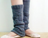 Knitted Leg Warmers with Flowers Ballet Yoga Dancer Socks