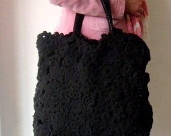 Black Oversized Tote Bag Crochet Bag OOAK