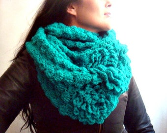 Pattern Crochet Cowl, DIY Tutorial Infinity Circle Loop Scarf, Snood Crochet Pattern