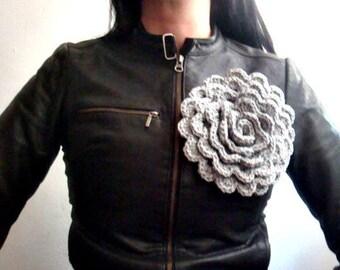 Crochet Flower Pins Set of 3 Brooches