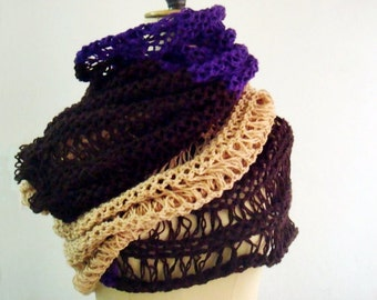 Chunky Knit Scarf, Color Block Scarf, Extra Large Knit Scarf, Lace Brown Purple Mustard Yellow Wrap