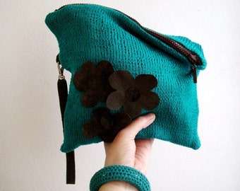Turquoise Clutch Knit Bag Brown Real Leather Strap and Flowers