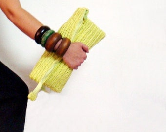 Neon Yellow Oversized Clutch Purse Crochet Bag