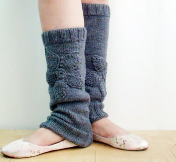 Free Knitting Patterns Leg Warmer Socks : Knitted Leg Warmers with Flowers Ballet Yoga Dancer Socks by faima