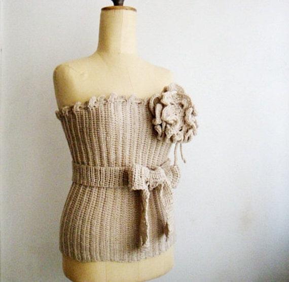 Crochet Bustier Corset Top Large Flower Pin Brooch and Belt