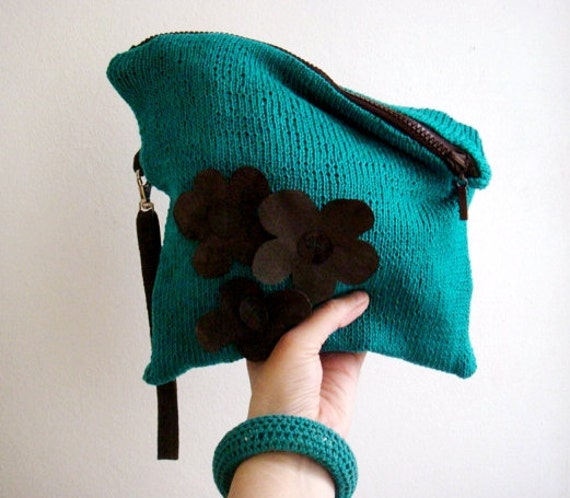 Turquoise Clutch, Knit Bag, Brown Real Leather Strap and Flowers