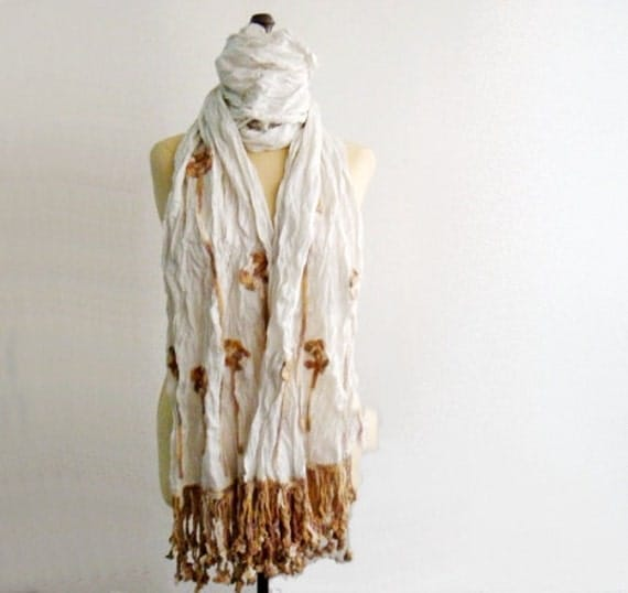 White Hand Wrinkled Long Scarf Crinkled Fabric Scarf with Crocheted Edges and Flower Appliques
