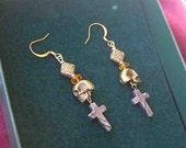 Gold SKULL Agate CROSS Dangle Drop Earrings