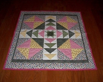 Star Hand Quilted Floral Quilt  Cotton Fabric