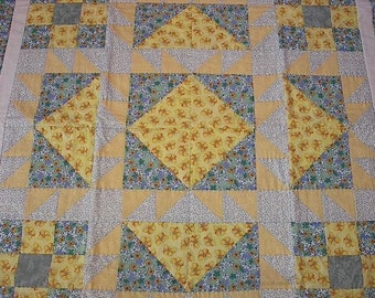 Patchwork Quilt Yellows and Blues, Butterflies and Flowers Hand Quilted