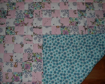 Hand Quilted Flannel Quilt Lap or Baby Size Patchwork Perfect Snuggle Quilt for the Winter