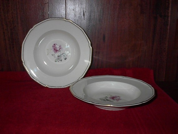 Royal Tettau Bavaria Single Rose Soup Bowls 2 piece set
