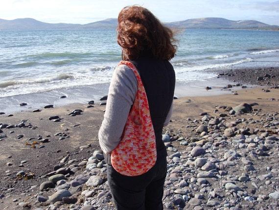 PAY IT FORWARD Red Tote Crochet Beach Bag Handmade in Ireland
