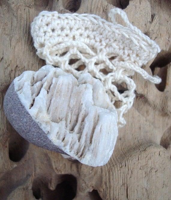 Irish Beach Pebble in Crochet Bag Worry Stone