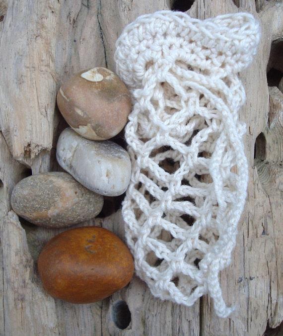 Irish Beach Pebbles Worry Stones in Crochet Bag