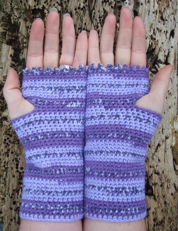 Crochet Wrist Warmers Fingerless Gloves Purple Stripe Vegan Friendly