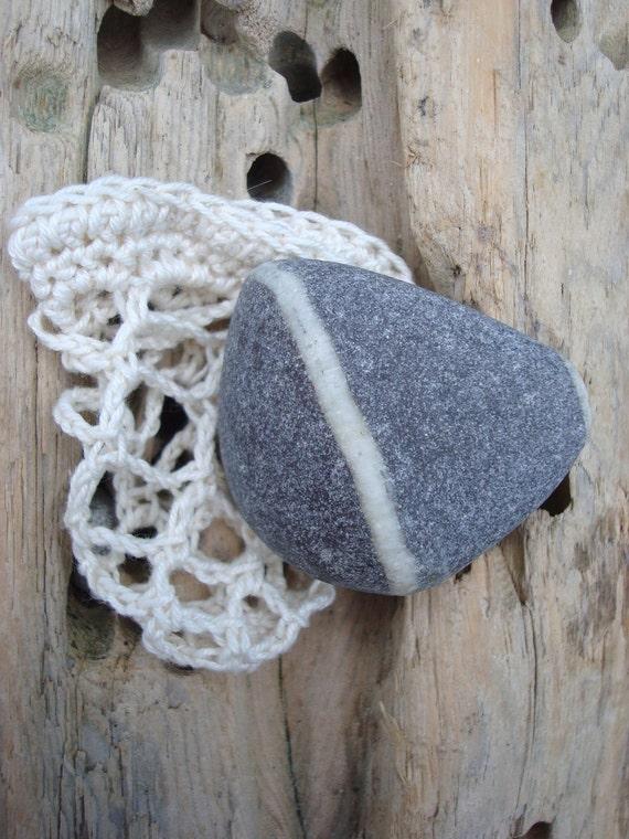 Irish Worry Stone Striped Beach Pebble in Crochet Bag