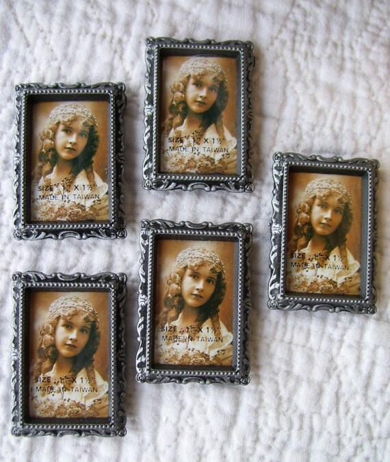 Mini RECTANGLE Pewter Frames - Set of Five - 1 x 1 1/2 inches