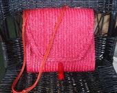 Vintage Hong Kong Straw Pink Purse