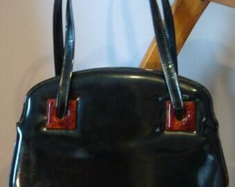 Vintage Garay Patent Leather Purse with Bakelite Decoration