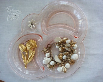 Vintage Glass Luncheon Dish Turned Jewelry Tray