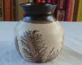 Vintage Small English Style Pottery Mocha Ware Vase Winter Trees