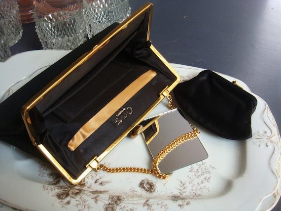 Vintage Coblentz Gorgeous Black Evening Bag with Accessories On Sale