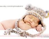 Angel Soft Bear Earflap Baby Hat 0-3 Earth Tones