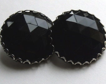 Faceted Black Glass Button Earrings