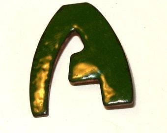 Vintage Green Enamel Initial 'A' Brooch Pin