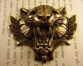 1 Brass Oxide Stamped Snarling Cat